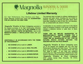 Replacement Window Warranty